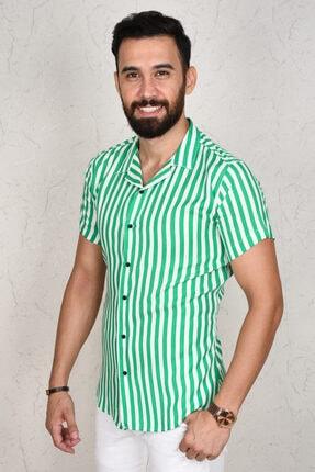 DeepSea Erkek Yeşil Çizgili Kısa Kol Gömlek 2002805 0