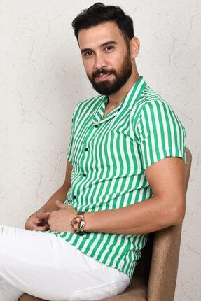 DeepSea Erkek Yeşil Çizgili Kısa Kol Gömlek 2002805 1