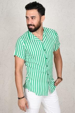 DeepSea Erkek Yeşil Çizgili Kısa Kol Gömlek 2002805 3