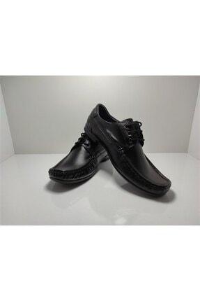 ACELYA Erkek Siyah Hakiki Deri Bağcıklı Günlük Ayakkabı 0
