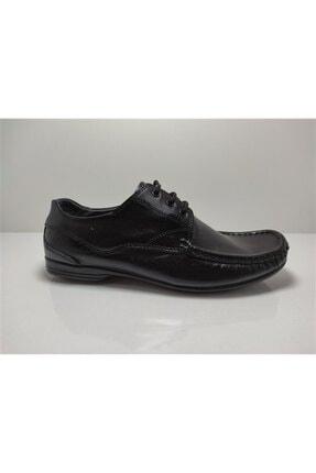 ACELYA Erkek Siyah Hakiki Deri Bağcıklı Günlük Ayakkabı 1