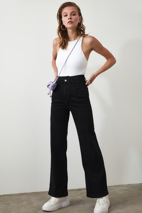 TRENDYOLMİLLA Siyah Dikiş Detaylı Süper Yüksek Bel Wide Leg Jeans TWOSS20JE0015 1