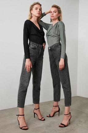 TRENDYOLMİLLA Antrasit Yüksek Bel Straight Jeans TWOAW21JE0079 1