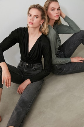 TRENDYOLMİLLA Antrasit Yüksek Bel Straight Jeans TWOAW21JE0079 2