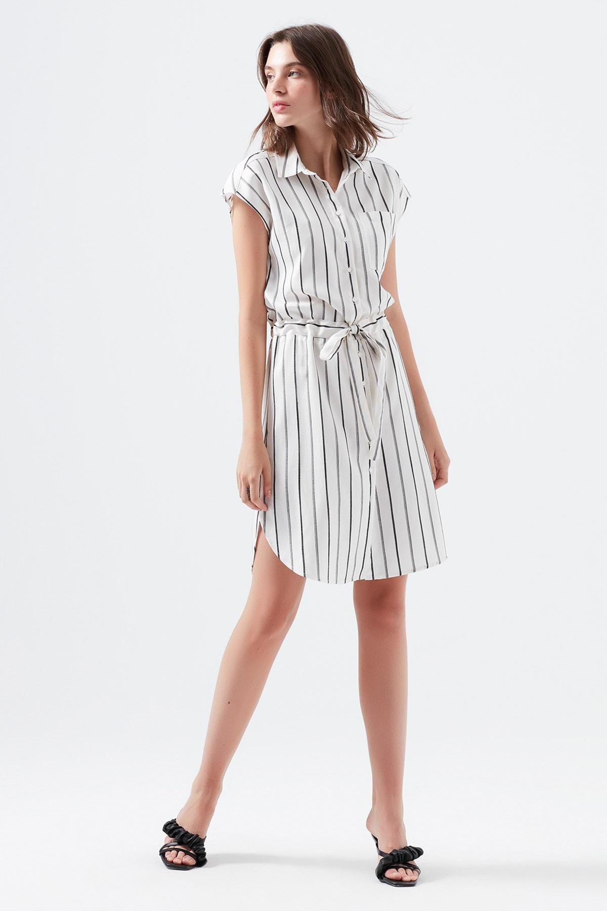 Çizgili Beyaz Elbise 130874-30701
