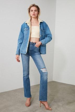 TRENDYOLMİLLA Mavi Yırtık Detaylı Yüksek Bel Flare Jeans TWOAW21JE0085 2