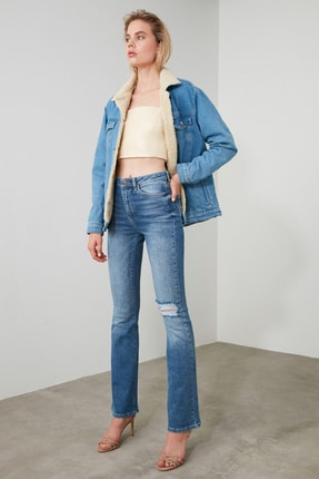 TRENDYOLMİLLA Mavi Yırtık Detaylı Yüksek Bel Flare Jeans TWOAW21JE0085 1