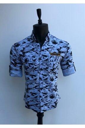 JİYAN Erkek Mavi Kamuflaj Desenli Gömlek 0