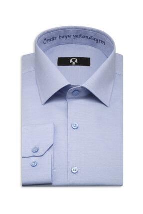 Nakkaş Gömlek Erkek Gök Mavi Ömür Boyu Yakandayım Nakışlı Hatıra Gömleği 0