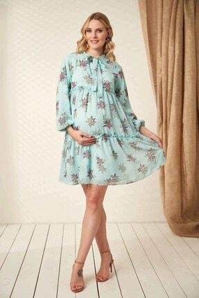 Görsin Hamile Kadın  Mint Hamile Yaka Bağcık Elbise 1