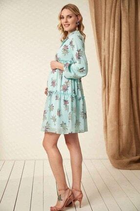 Görsin Hamile Kadın  Mint Hamile Yaka Bağcık Elbise 3
