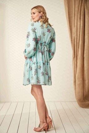 Görsin Hamile Kadın  Mint Hamile Yaka Bağcık Elbise 4