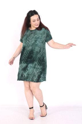 exxeland Kadın Yeşil Batik Desenli Elbise 0