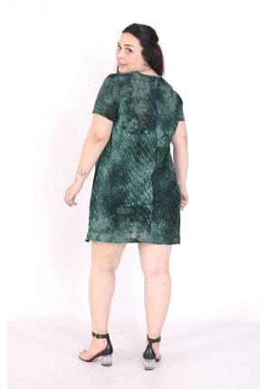 exxeland Kadın Yeşil Batik Desenli Elbise 3