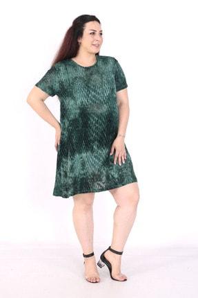 exxeland Kadın Yeşil Batik Desenli Elbise 4