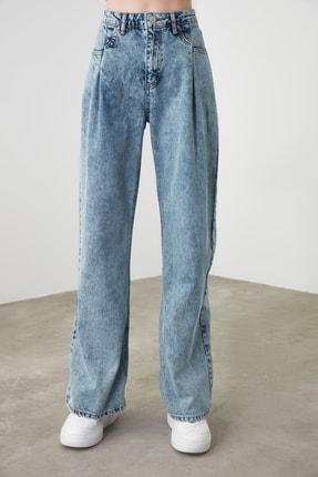 TRENDYOLMİLLA Mavi Cep Detaylı Yüksek Bel Wide Leg Jeans TWOSS20JE0143 2