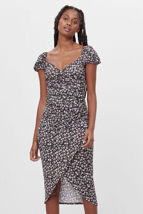 Bershka Kadın Siyah Renkli Desenli Askılı Midi Elbise 0