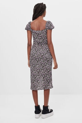 Bershka Kadın Siyah Renkli Desenli Askılı Midi Elbise 1
