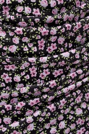 Bershka Kadın Siyah Renkli Desenli Askılı Midi Elbise 4