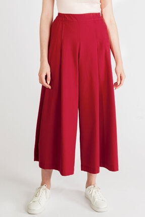 Streetbox Kadın Bordo Pileli Pantolon 1