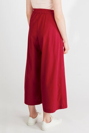 Streetbox Kadın Bordo Pileli Pantolon 3