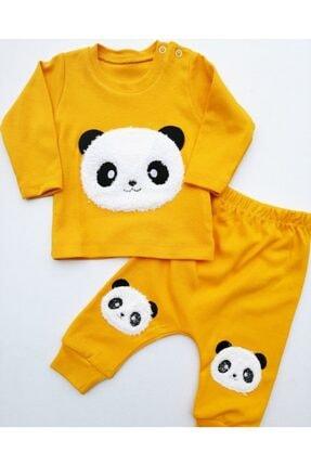 Dombili Bebek Sarı Panda Nakışlı Takım 0