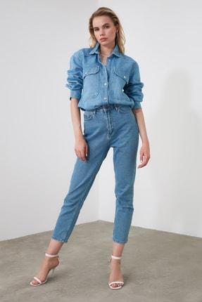 TRENDYOLMİLLA Mavi Yüksek Bel Mom Jeans TWOAW20JE0129 1