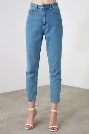 TRENDYOLMİLLA Mavi Yüksek Bel Mom Jeans TWOAW20JE0129 2