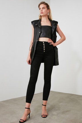 TRENDYOLMİLLA Siyah Dikiş Detaylı Düğmeli Süper Yüksek Bel Skinny Jeans TWOAW20JE0342 0