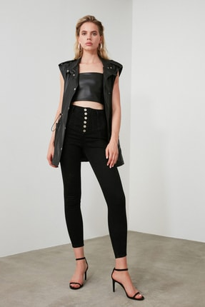 TRENDYOLMİLLA Siyah Dikiş Detaylı Düğmeli Süper Yüksek Bel Skinny Jeans TWOAW20JE0342 1