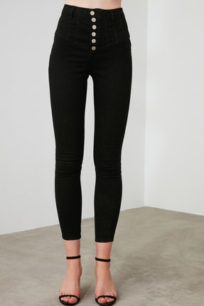 TRENDYOLMİLLA Siyah Dikiş Detaylı Düğmeli Süper Yüksek Bel Skinny Jeans TWOAW20JE0342 3