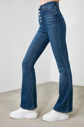 TRENDYOLMİLLA Mavi Önden Düğmeli Yüksek Bel Flare Jeans TWOSS20JE0111 2