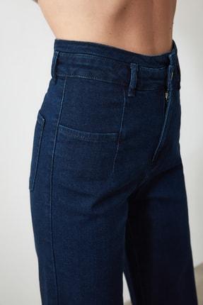 TRENDYOLMİLLA Lacivert Dikiş Detaylı Süper Yüksek Bel  Wide Leg Jeans TWOSS20JE0015 3