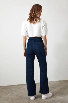 TRENDYOLMİLLA Lacivert Dikiş Detaylı Süper Yüksek Bel  Wide Leg Jeans TWOSS20JE0015 4