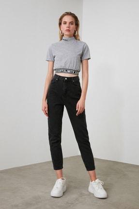 TRENDYOLMİLLA Siyah Yüksek Bel Mom Jeans TWOSS20JE0108 3