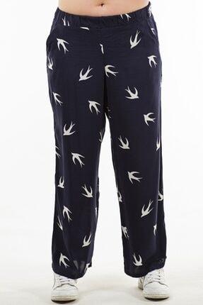 Womenice Kadın Lacivert Kuş Desenli Pantolon 1
