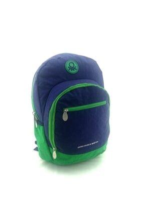 Benetton Unisex Lacivert Yeşil Okul Sırt Çantası 96015 1