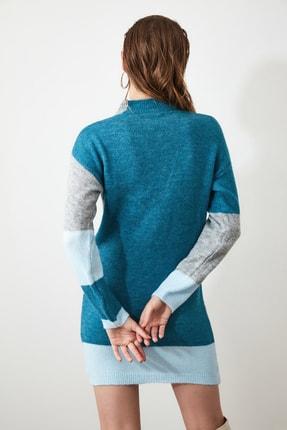 TRENDYOLMİLLA Mavi Colorblock Triko Kazak Elbise TWOAW20FV0063 4