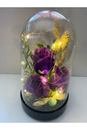 Aleyna'nın Dükkanı Ledli 3lü Mor Yapay Çiçekli Cam Fanus 22 cm Pil Hediyeli 0