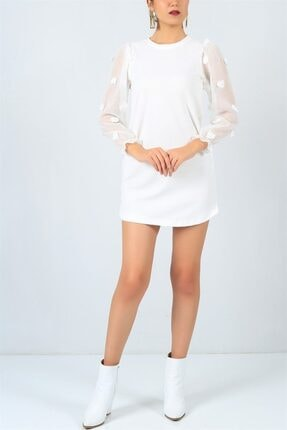 FİLELİ Kadın Beyaz Ponpon Kol  Elbise 1