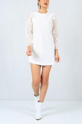 FİLELİ Kadın Beyaz Ponpon Kol  Elbise 2