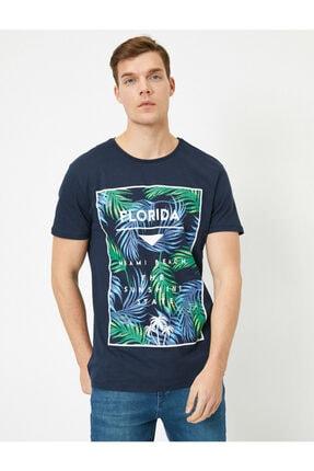 Koton Erkek Lacivert Yazılı Baskılı T-shirt 1