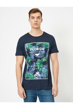 Koton Erkek Lacivert Yazılı Baskılı T-shirt 2