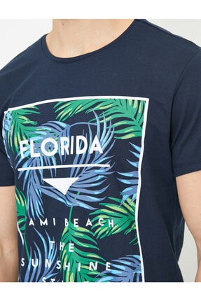 Koton Erkek Lacivert Yazılı Baskılı T-shirt 4