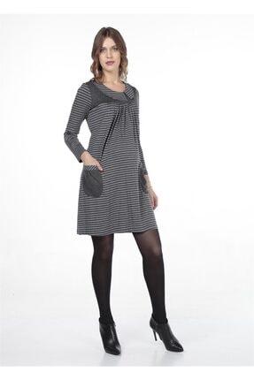 BUSA Kadın Gri Hamile Robadan Günlük Elbise 0