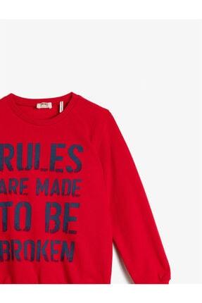 Koton Erkek Çocuk Kırmızı Pamuklu Uzun Kollu Bisiklet Yaka Yazili Baskili Sweatshirt 2