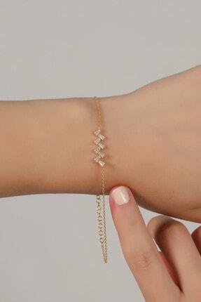 Esda Collection Kadın Altın Kaplama Trapez Taşlı Bileklik 0