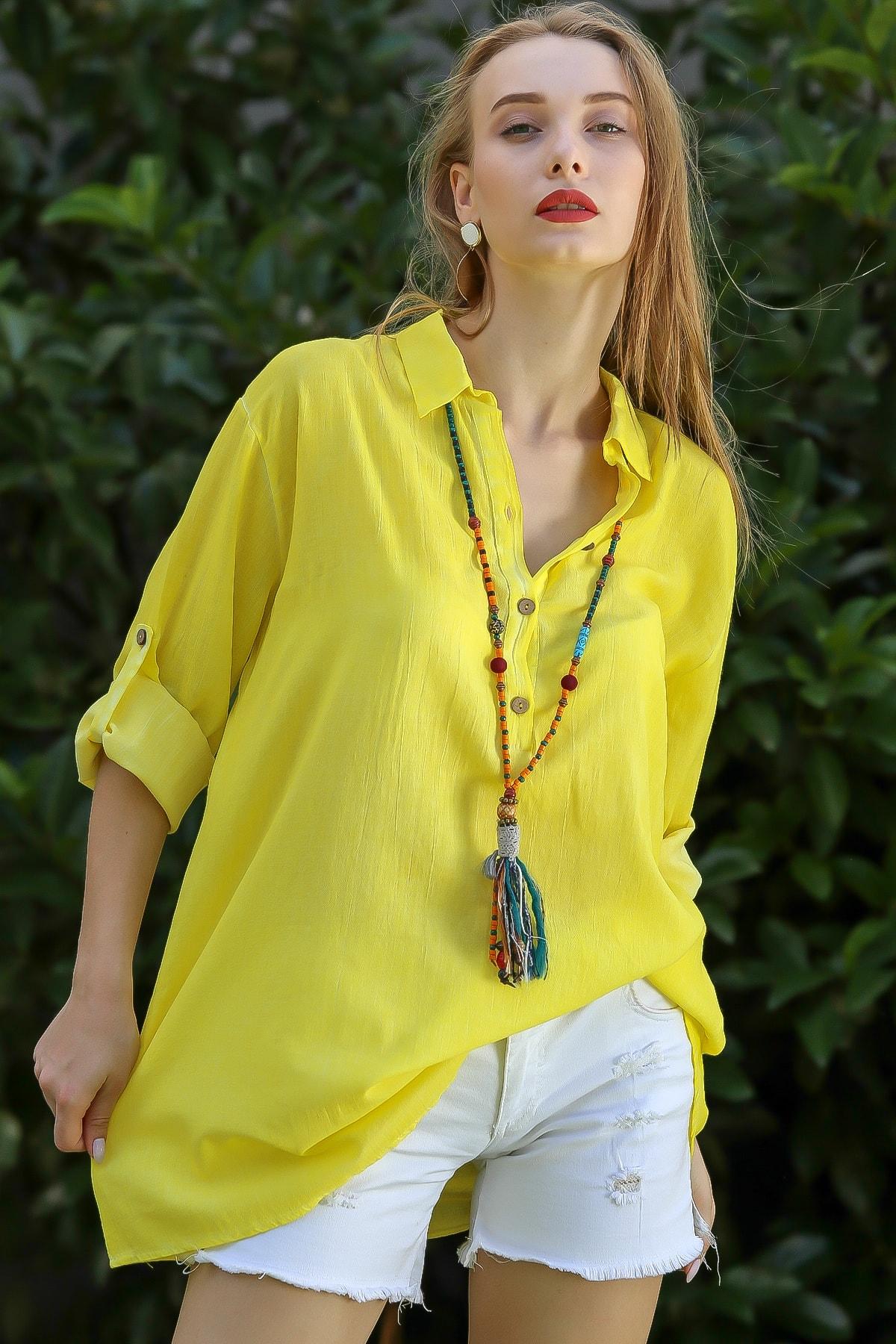 Chiccy Kadın Neon Sarı Casual Gömlek Yaka Pat Detaylı Yıkamalı Tunik Bluz M10010200Bl96076 0