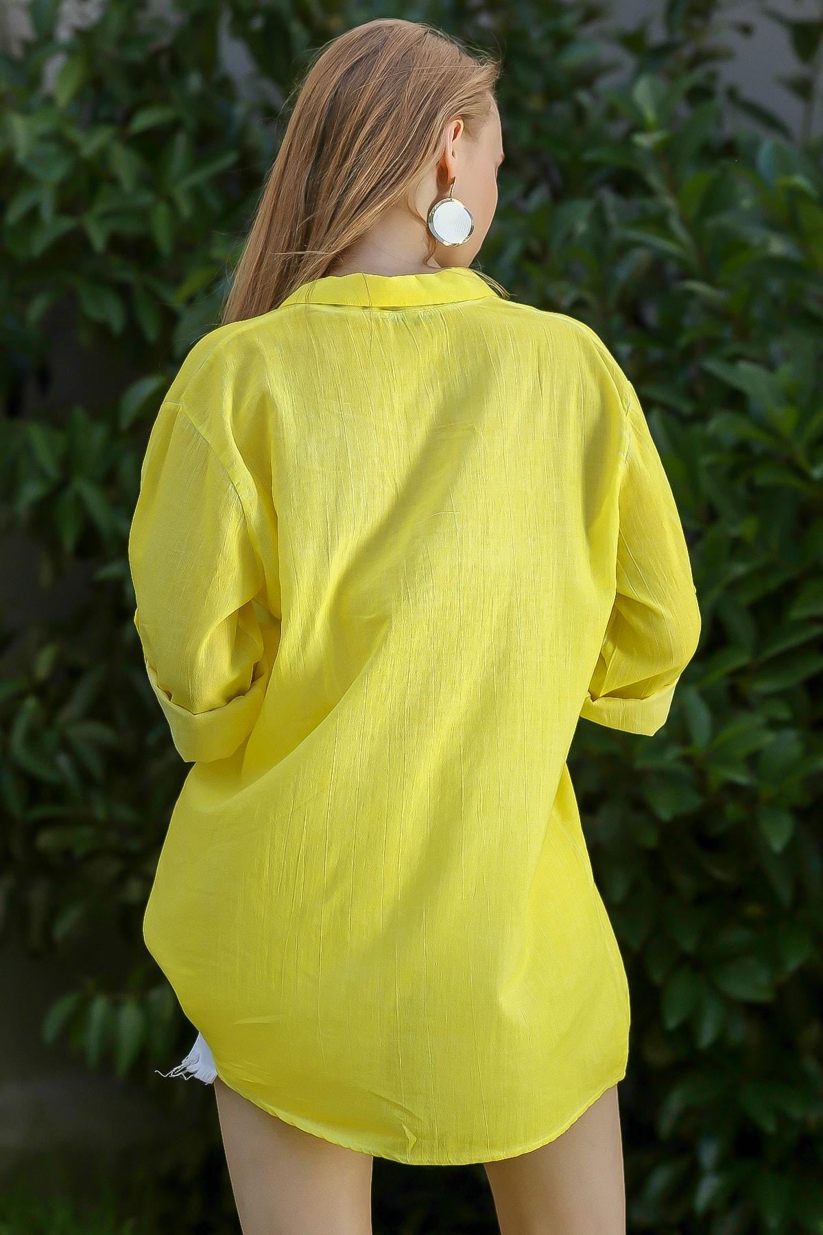 Chiccy Kadın Neon Sarı Casual Gömlek Yaka Pat Detaylı Yıkamalı Tunik Bluz M10010200Bl96076 4