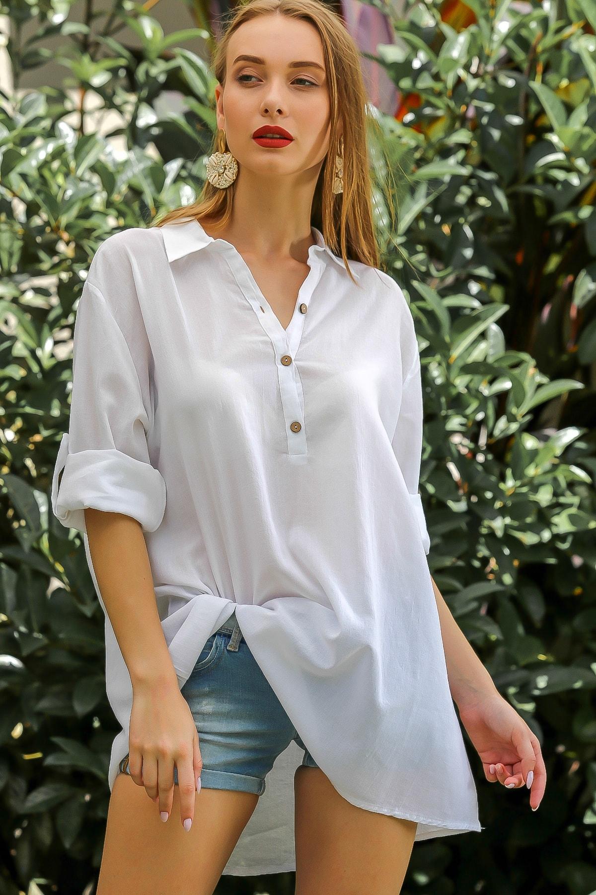 Kadın Beyaz Casual Gömlek Yaka Pat Detaylı Yıkamalı Tunik Bluz M10010200Bl96076